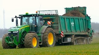 Spreading chicken manure | John Deere 8360R & Tebbe HS240 spreader on tracks | ERF