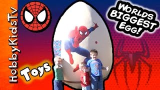 getlinkyoutube.com-Worlds BIGGEST SpiderMan Surprise Egg! Laser Silly Web String Marvel by HobbyKidsTV