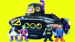 getlinkyoutube.com-Batman Imaginext Villain Vehicle Set With Penguin Submarine Joker Motorcycle Superman