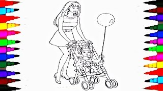 getlinkyoutube.com-Coloring Pages BARBIE and Chelsea In the Stroller Coloring Book Videos For Children Learning Colors