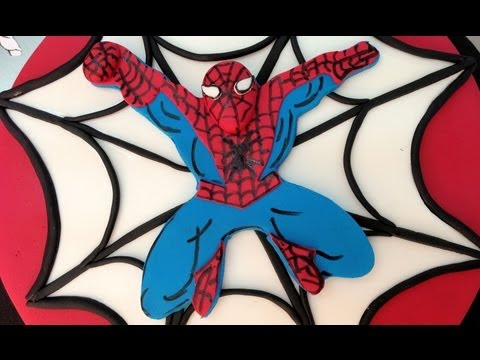 Tarta de Spiderman con masa elástica o fondant. Tutorial