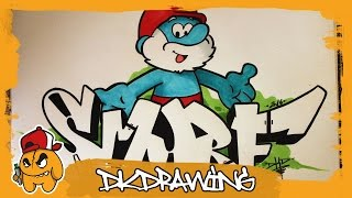 How to draw Papa Smurf from The Smurfs & Graffiti Letters Smurf