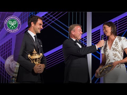 Roger Federer and Garbiñe Muguruza speak at Wimbledon Champions` Dinner
