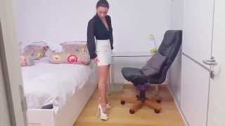 Julie skyhigh  thanks fabio for white gianmarco lorenzi high heels worn with JITROIS leather skirt