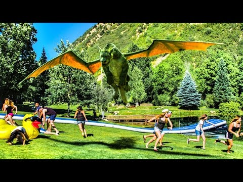 Human Zipline Slip and Slide with Pete's Dragon! | DEVINSUPERTRAMP
