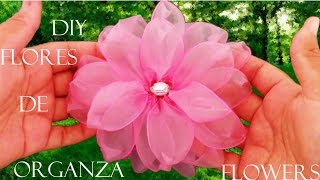 getlinkyoutube.com-DIY flores  en cintas de organza- Dahlias flowers in organza ribbons