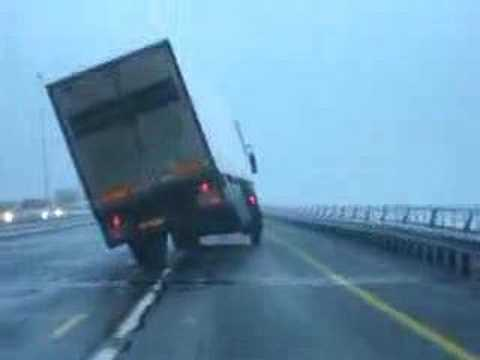 Semi Truck Topples in Strong Wind
