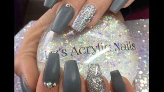 Acrylic Nails   Matte Grey   50 Shades Of Grey