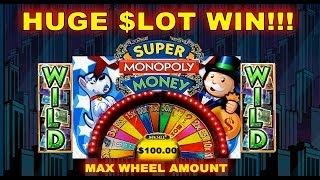getlinkyoutube.com-★ HUGE WIN JACKPOT ★ WMS - Super Monopoly Money Slot Wheel Bonus Spins 5 CENT Machine