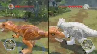 getlinkyoutube.com-LEGO Jurassic World - Indominus Rex vs T-Rex - CoOp Fight | Free Roam Gameplay [HD]