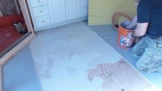 "getlinkyoutube.com-Part ""1"" How to install Tile Backer Board on wooden subfloor - plywood - floor installation"