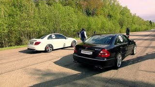 getlinkyoutube.com-Mercedes E55 AMG vs Mercedes C63 AMG; Jeep SRT-8 vs BMW X6M; Audi RS6 vs BMW M3 ESS