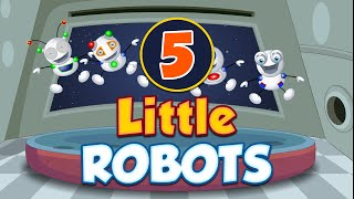 getlinkyoutube.com-Five Little Robots Jumping on the Bed | Nursery Rhymes For Children | TinyDreams Kids