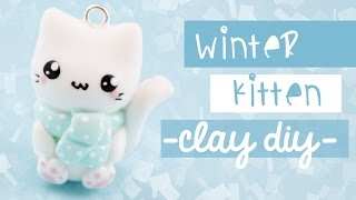 getlinkyoutube.com-Winter Cat Clay-DIY | Kawaii Friday