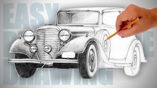 getlinkyoutube.com-How to draw a retro car - Easy Perspective Drawing 18