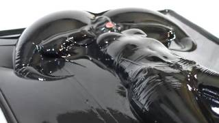 getlinkyoutube.com-Latex vacbed shooting in complete latexdress and inflatable latexmask