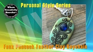 Faux Peacock Feather Clay Keychain