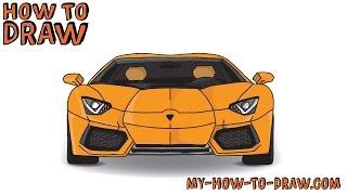 getlinkyoutube.com-How to draw a car - How to draw a Lamborghini Aventador Sports Car