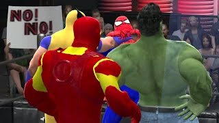 getlinkyoutube.com-WWE 2K15 | SPIDER MAN VS WOLVERINE VS IRON MAN VS HULK | TLC MATCH