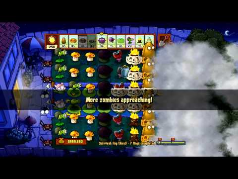 Plants Vs Zombies - Xbox 360 - Survival Fog Hard Part 3