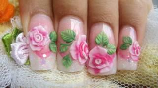 getlinkyoutube.com-How to make pink 3D acrylic roses cute glitter nails kawaii