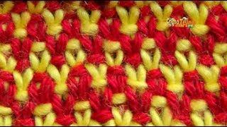 getlinkyoutube.com-Cómo Tejer Punto Bordado en Colores-Embroidery Stitches Colors-2 Agujas (318)