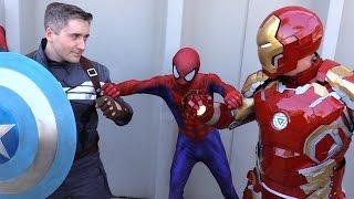 getlinkyoutube.com-SPIDER-MAN vs CAPTAIN AMERICA vs IRON MAN