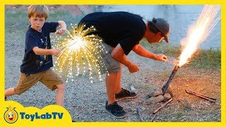getlinkyoutube.com-Family Fun Night Playing with Fireworks on 4th of July Lighting Parachute Fireworks & TNT Poppers