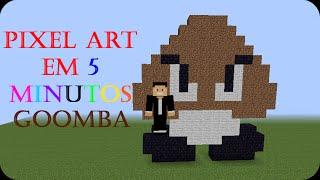 getlinkyoutube.com-Minecraft - Como fazer uma pixel art em 5min #2-Goomba