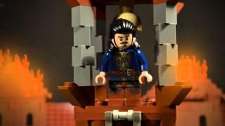 getlinkyoutube.com-LEGO Hobbit - Smaug attacks Lake-town