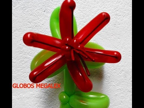 GLOBOS FLOR PARA COLUMNAS CON MEGALEX...HOW TO MAKE A BALLOON FLOWER FOR COLUMNS