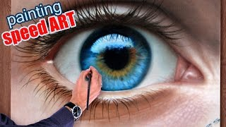 getlinkyoutube.com-How To Draw a realistic Eye painting in dry brush (Speed Drawing) malen zeichnen