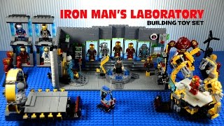getlinkyoutube.com-LEGO Iron Man's Laboratory w/ Suit-Up Gantry Building Set Marvel Superheroes