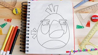 getlinkyoutube.com-How to draw Angry Birds - Matilda - Easy step-by-step drawing lessons for kids