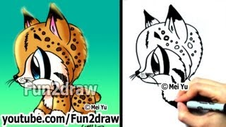 getlinkyoutube.com-How to Draw Animals - How to Draw a Bob Cat - Cute Art - Easy Drawings - Fun2draw