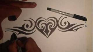 getlinkyoutube.com-Drawing a heart-  (Tribe)- By Wizard