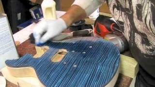 getlinkyoutube.com-How to blue burst a Les Paul DC Project Guitar Top Luthier Building Bursting poor mans prs transtint