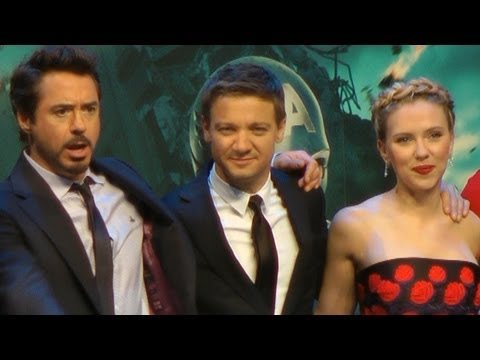 Robert Downey Jr. Scarlett Johansson, Tom Hiddleston - Avengers Assemble Premiere London