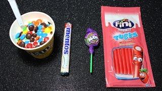 getlinkyoutube.com-M&Ms Ice Cream Candy Mentos Lollipops