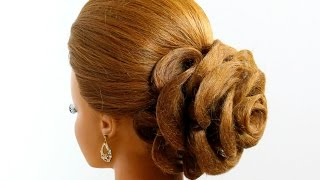 getlinkyoutube.com-Hair made rose. Wedding prom hairstyle for long hair
