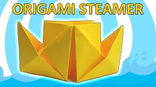 Steamboat Origami  🚢 Easy Video Instructions 🚢 Origami Steamer