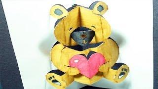 getlinkyoutube.com-How to make a Teddy Bear: Pop-Up Card | FREE Template - (Kirigami 3D) Valentine's Day Greeting!