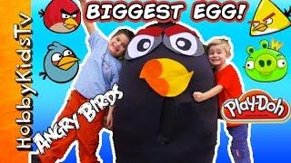 Worlds BIGGEST BOMB BIRD Surprise Egg! Angry Birds, Play-doh Egg + DC Superhero Mashems HobbyKidsTV
