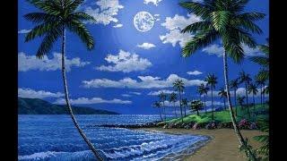 getlinkyoutube.com-Cara melukis pantai di malam hari dan bulan menggunakan akrilik di atas kanvas