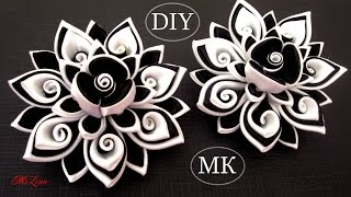 getlinkyoutube.com-Резинки канзаши, МК / DIY Scrunchy with Kanzashi flower / Black & White Ribbon Flowers