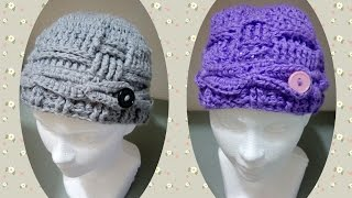 getlinkyoutube.com-GORRO DE TRENZAS Y PUNTOS EN RELIEVE.
