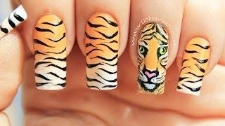getlinkyoutube.com-Decoración de uñas tigre animal print - Tiger animal print nail art