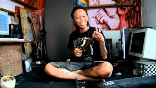 Bobby from Marjinal plays 'Negri Ngeri' on electric ukulele for ukeland.co.uk