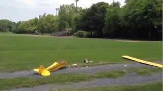 getlinkyoutube.com-Restored J3 Piper Cub First flight and crash.