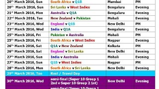 getlinkyoutube.com-T20 World Cup 2016 Schedule & Time Table